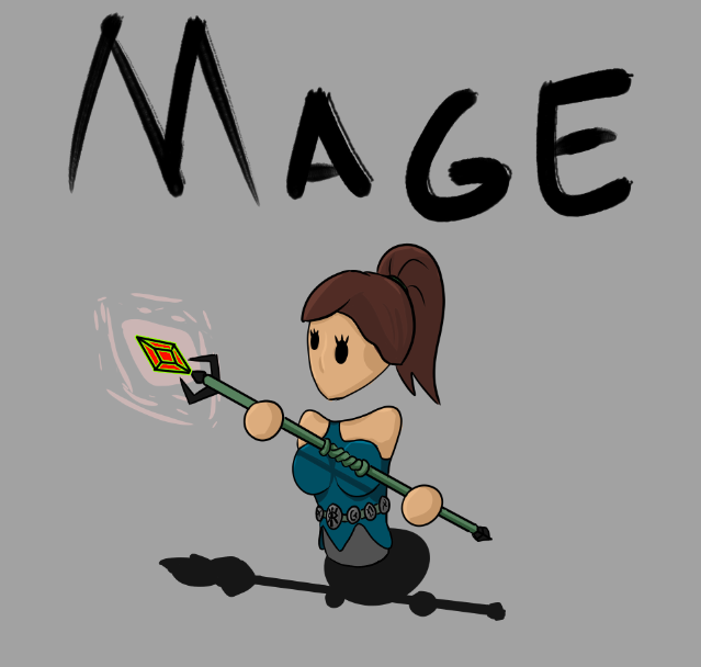 Concept art of mage for 3/5 Too Many Skeletons
